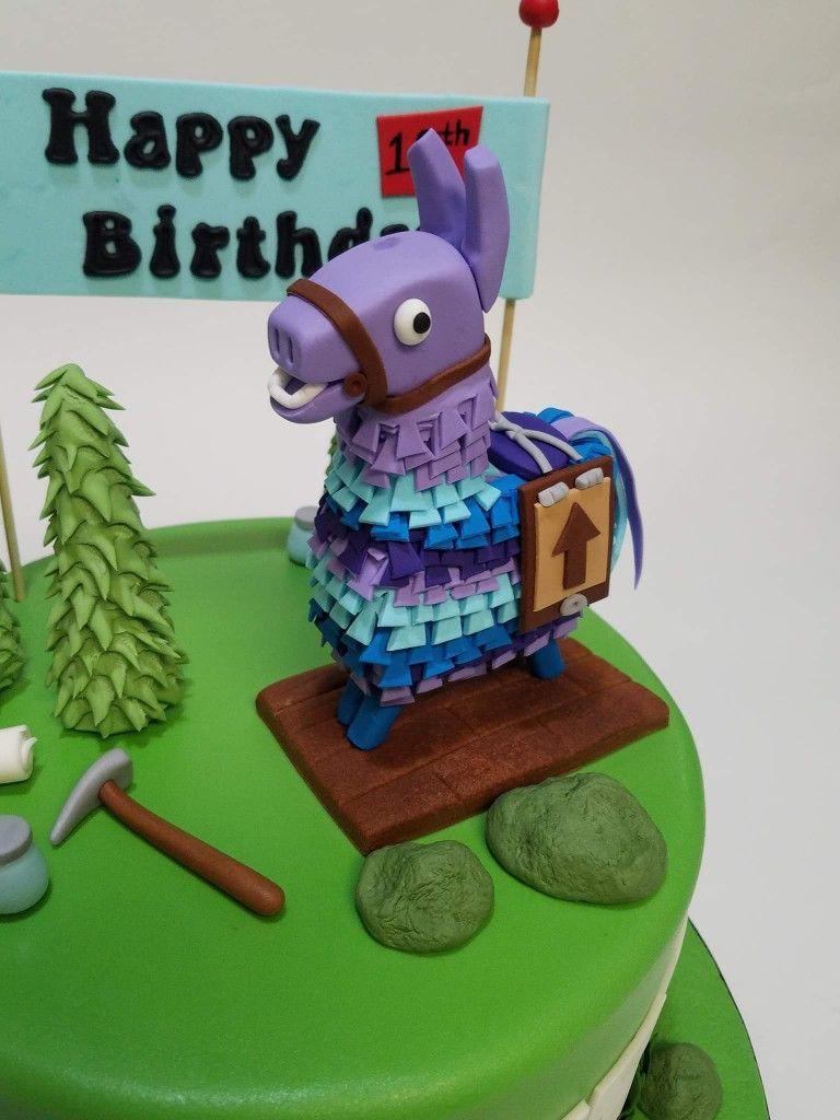 Fondant loot llama fortnite for the win fiesta cake