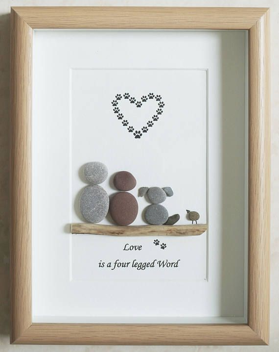 Pebble Art framed Picture - Couple & Dog - Love is a four legged ...