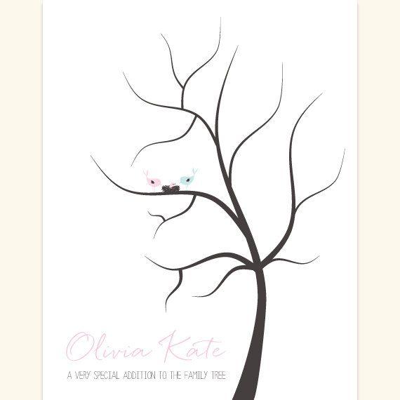 Customized Fingerprint Baby Shower Tree DIY By Amerrydesign