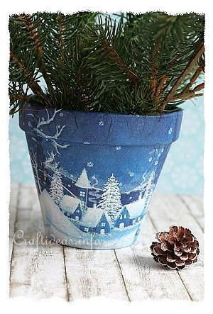 Decoupage Flower Pot With Winter Village Scene Art Painted Clay