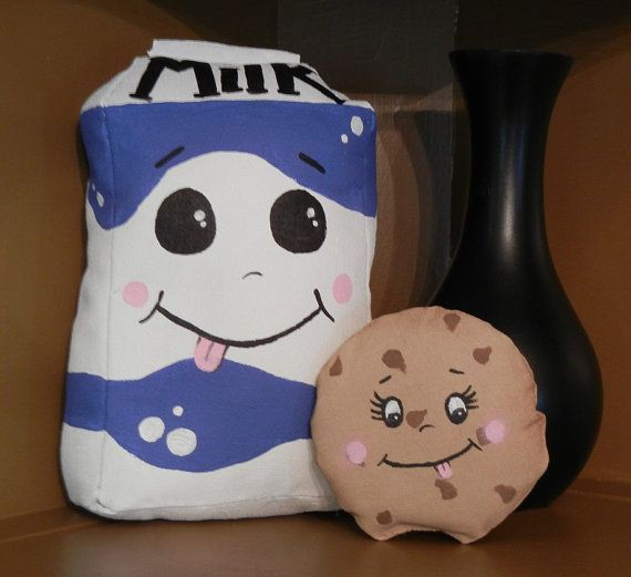 Milk and Cookies Painted Plush Decoration Stuffed by ElJayPlushie, $25.00