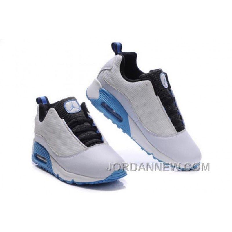 Men's Nike Air Jordan 13 Low Shoes White/Black/Light Blue Best Z4Ni8r2,