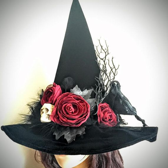 Witch Hat Elegant Black Hat Society Roses And Raven Witches Hat Witch Costume Diy Witch Hat Diy Handmade Witch Hat