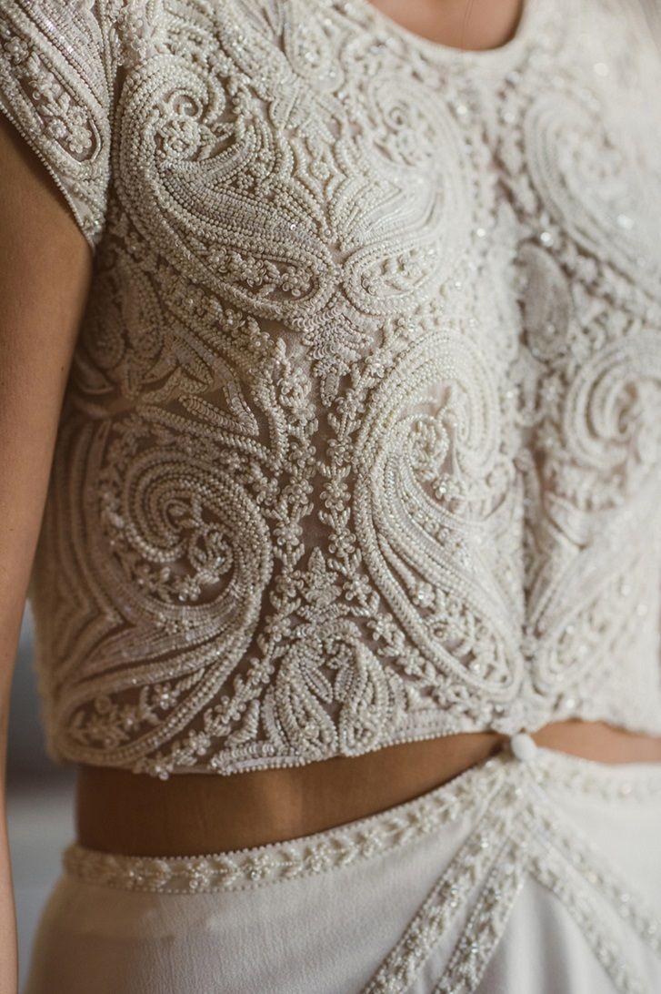 2 piece crop top wedding dress   Completely Beautiful Crop Top Wedding Dresses  Bridal gowns