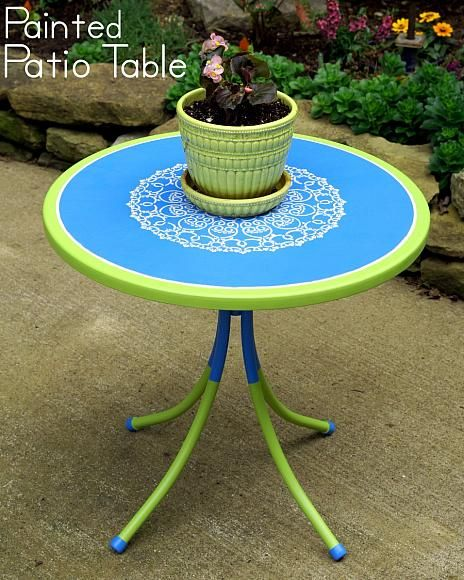 With some elbow grease and great products Amy was able to renew their patio table from years of weather and sun damage. Now it is wonderful colors and a stenciled top. Perfect for summer activities! Deco Art Blog