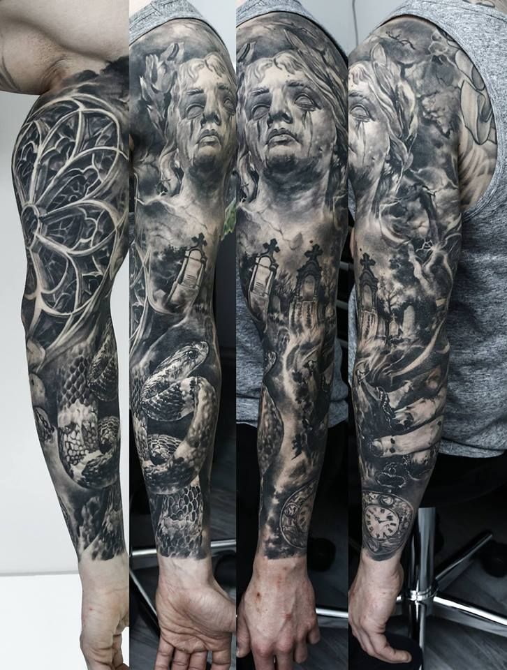 Domantas Parvainis - sleeve tattoo snake crying statue