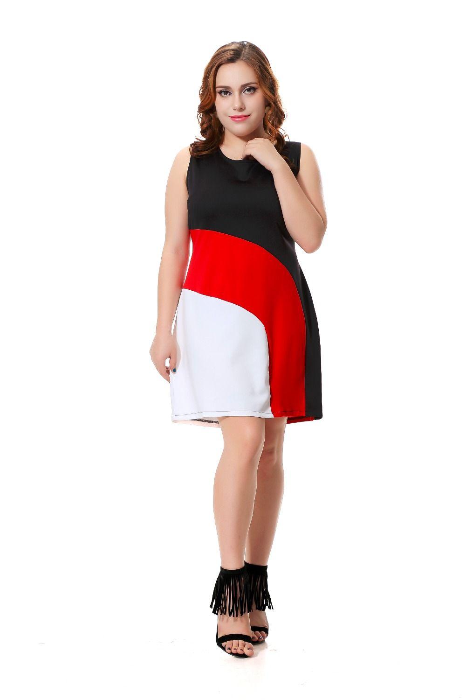 Plus size casual dress women sexy sleeveless midi dress black with