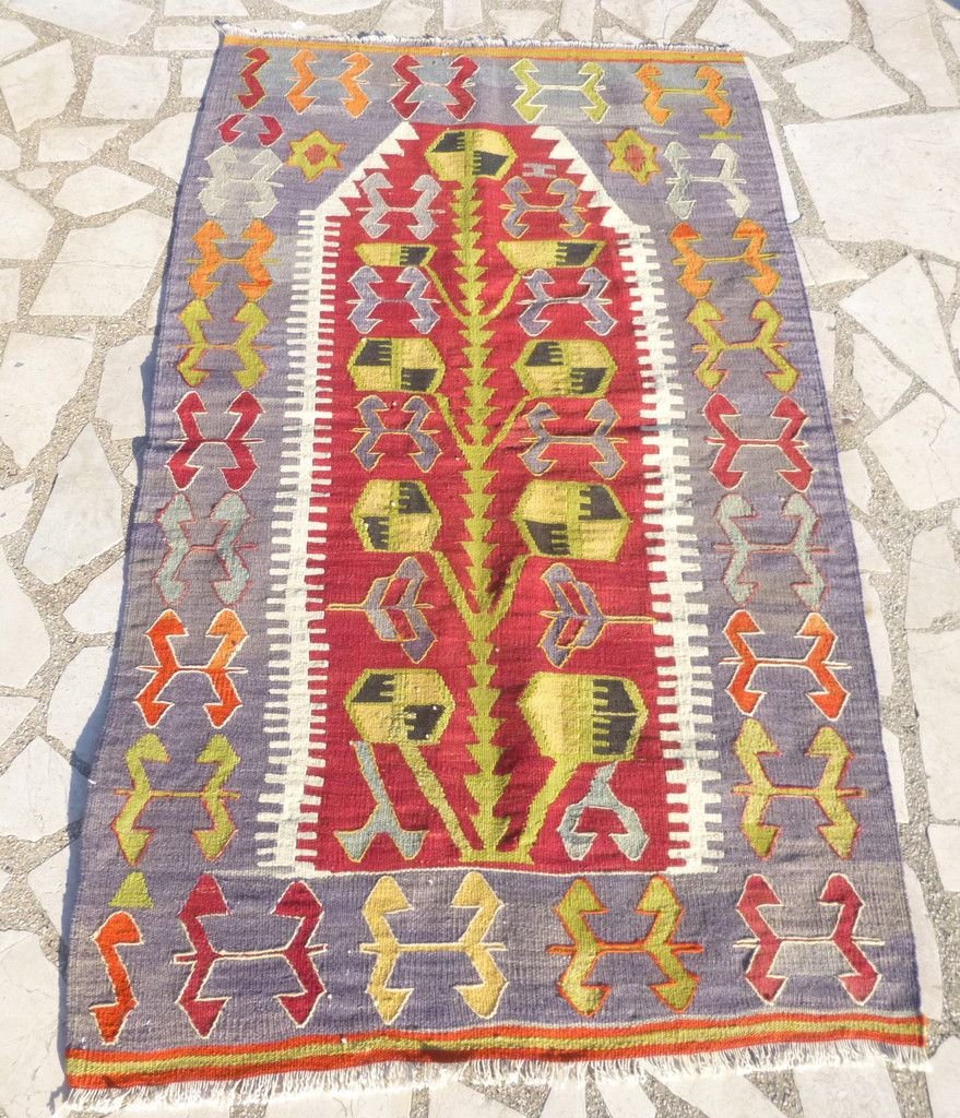 Small Hand Woven Turkish Kilim Rug With Tree Of Life, 4,5