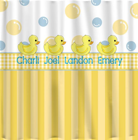 Personalized Rubber Duck Shower Curtains Yellow With By Redbeauty