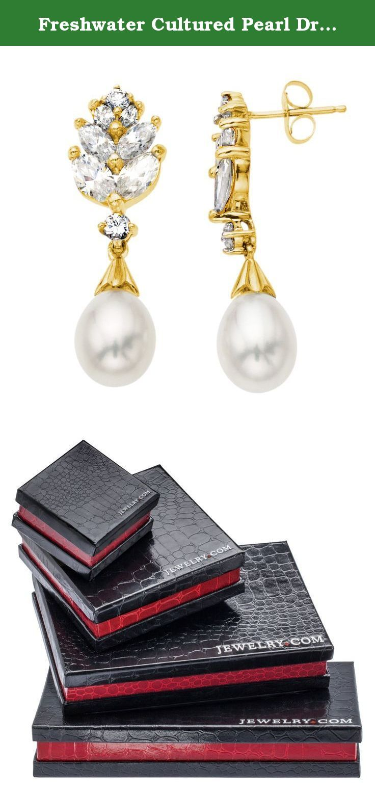 Freshwater Cultured Pearl Drop Earrings with Created White Sapphire in 10K Gold. A graceful leaf-inspired design well suited for any occasion. These dainty drop earrings feature 5mm freshwater cultured pearls that drop from marvelously crafted 10K gold posts that feature created white sapphire. Pieces measure 1 by 1/4 inches. Pearls have been dyed to enhance their appearance.