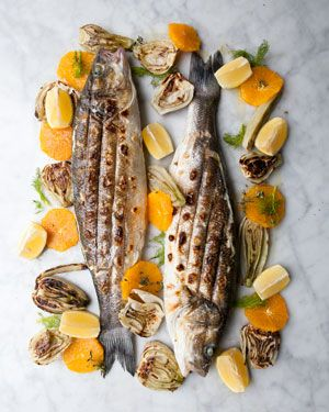 Rowley Leigh's sea bass barbecue - Whole sea bass with Florentine fennel, orange and fennel pollen