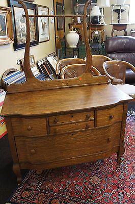 Antique Oak Dresser Vanity Ox Bow Front Drawers Original Wood Castors Harp Nice