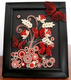 Ayani art: Quilled Red Butterflies