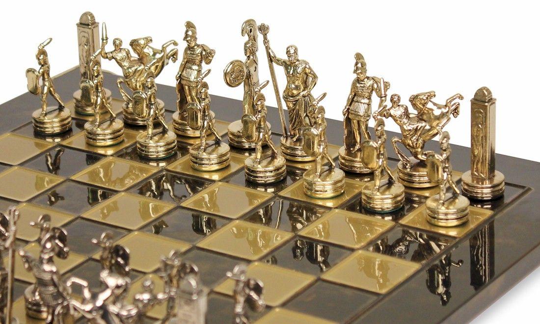 Small Poseidon Theme Chess Set Br Nickel Pieces Brown Board