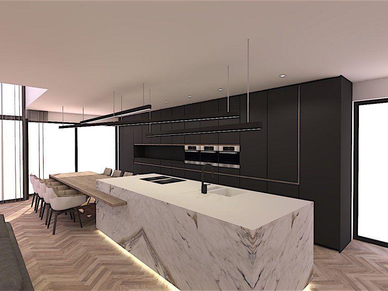 Marmer Zwart Keuken : Zwarte keuken en eiland in marmer met parketvloer in visgraat motief