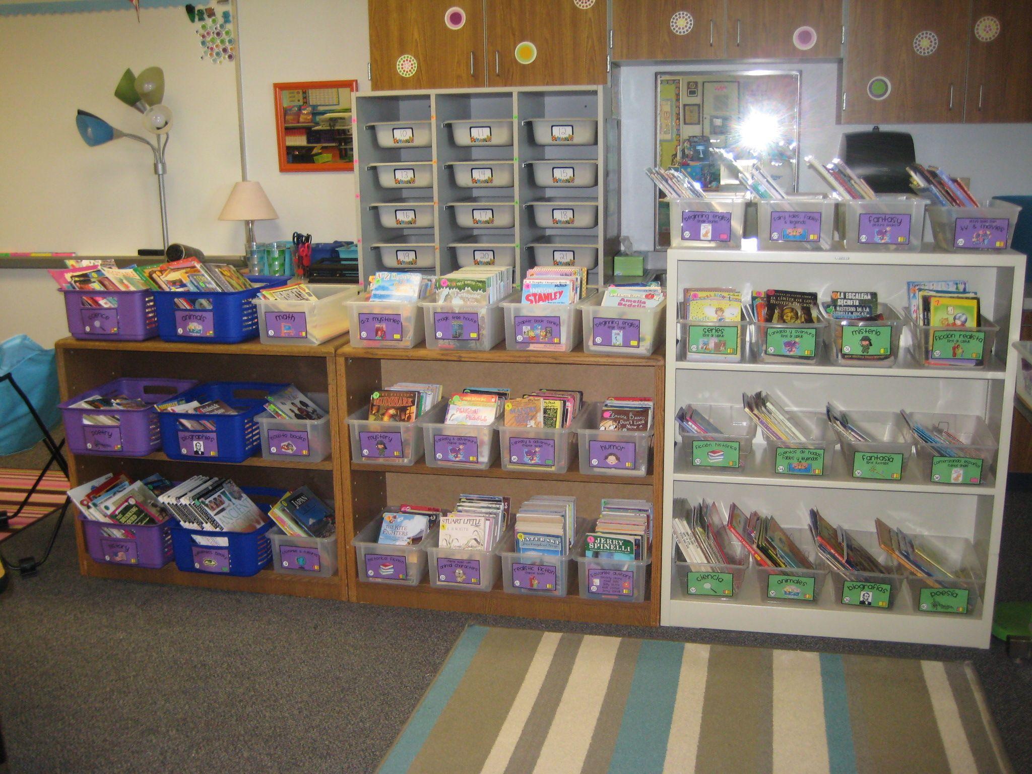 Half Of My Classroom Library Organized By English Spanish