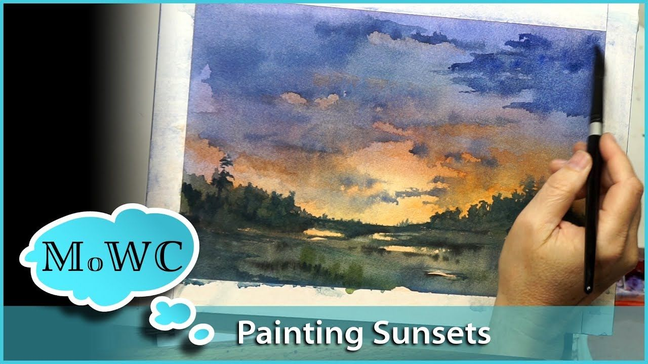 How To Paint A Dynamic Glowing Sunset In Watercolor Watercolor