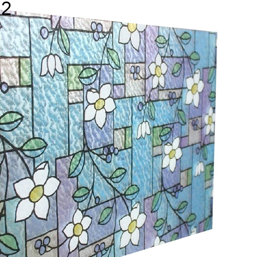 Photo of 45x100cm Orchid Window Film PVC Stained Glass Home Privacy Stickers DIY Decor – as the picture aa