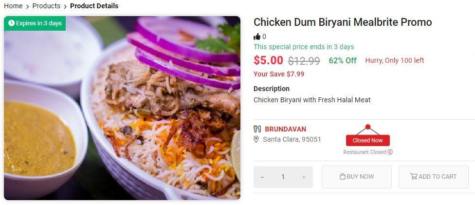 Chicken Dum Biryani Mealbrite Promo Food Dum Biryani Food To Go