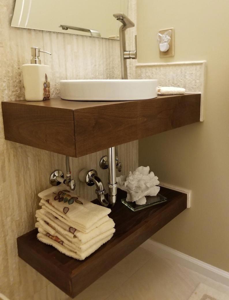 Raw Floating Bath Vanity No Finish Etsy Bathroomvanity Floating Bathroom Vanities Timeless Bathroom Floating Bathroom Sink