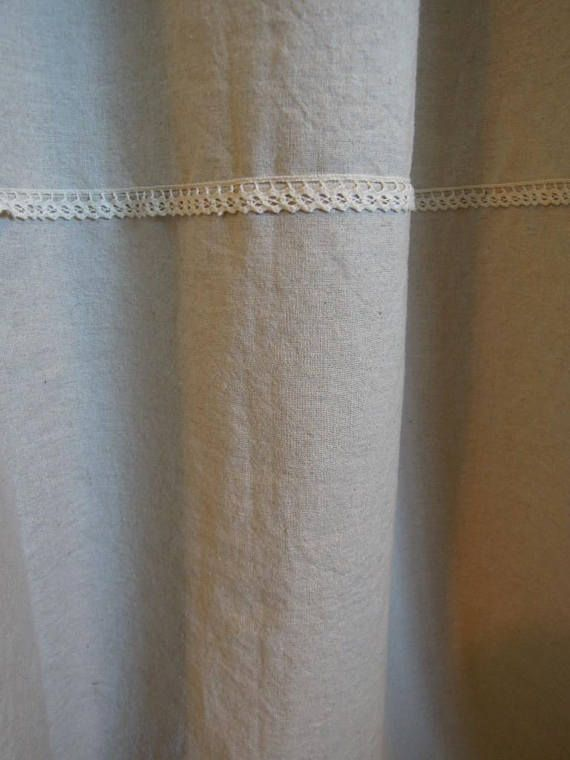 Natural Fabric Shower Curtains Oatmeal Linen Curtain With Lace Bathroom Cottage Style