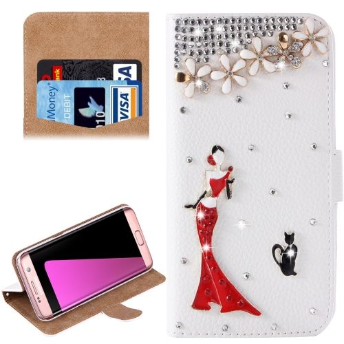 [$3.72] For Samsung Galaxy S7 Edge/ G935 Diamond Girl and Cat  Pattern Horizontal Flip Leather Case with Magnetic Buckle & Card Slots