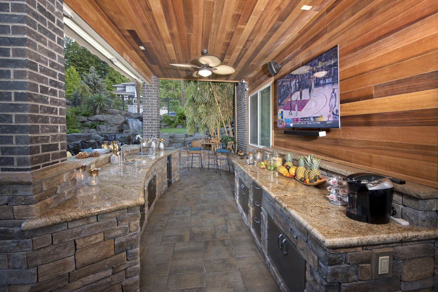 under deck waterproof outdoor living paradise restored landscaping backyard outdoor on outdoor kitchen on deck id=28787