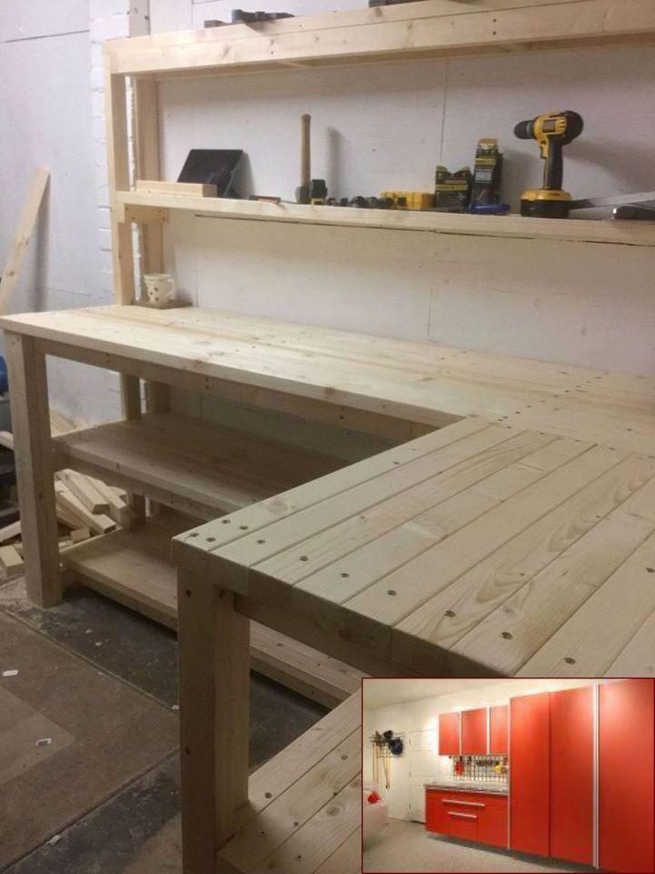 Garage Storage Kit Uk And Pics Of Garage Organization Yard Tools Garageshelves Garagestorageideas With Images Garage Work Bench Woodworking Bench Workbench