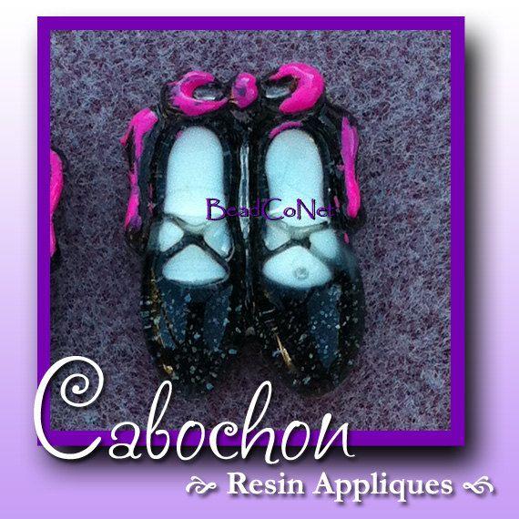 Clearance  Ballerina Slippers DIY  Plastic Flat Back by BeadCoNet, $1.95