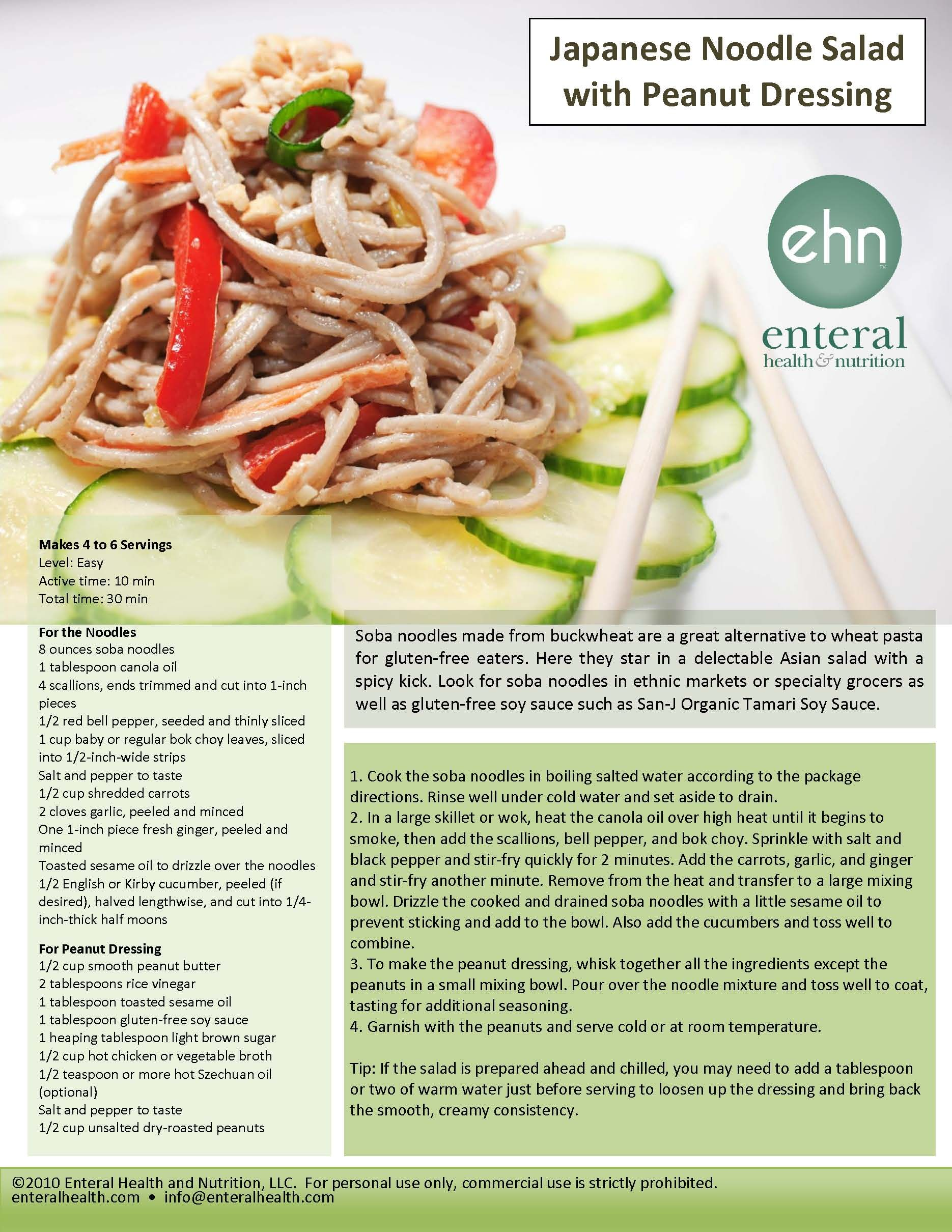 Soba noodles made from buckwheat are a great alternative to wheat pasta for gluten-free eaters. Here they star in a delectable Asian salad with a spicy kick. Look for soba noodles in ethnic markets or specialty grocers as well as gluten-free soy sauce such as San-J Organic Tamari Soy Sauce.  #GlutenFree #Healthy #Recipe