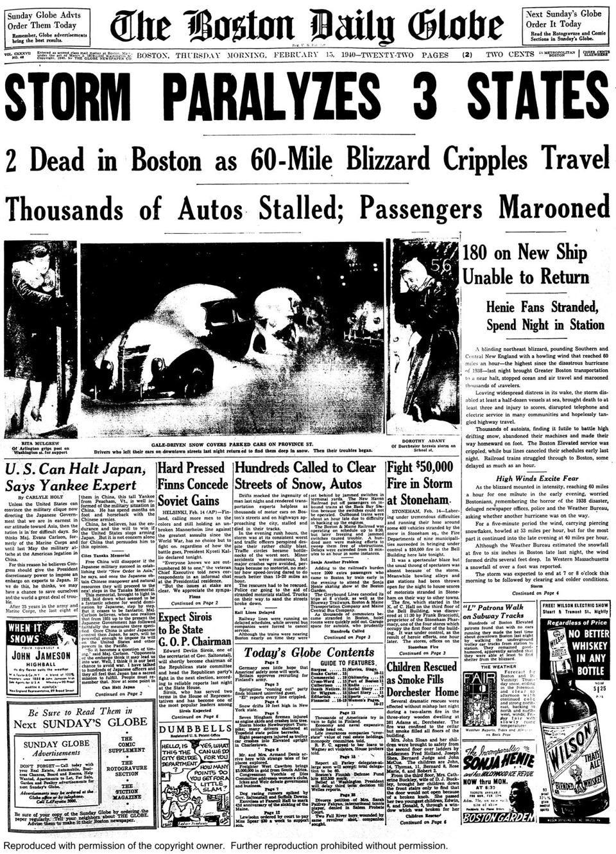 The 1940 Valentine's Day Blizzard - The Boston Globe