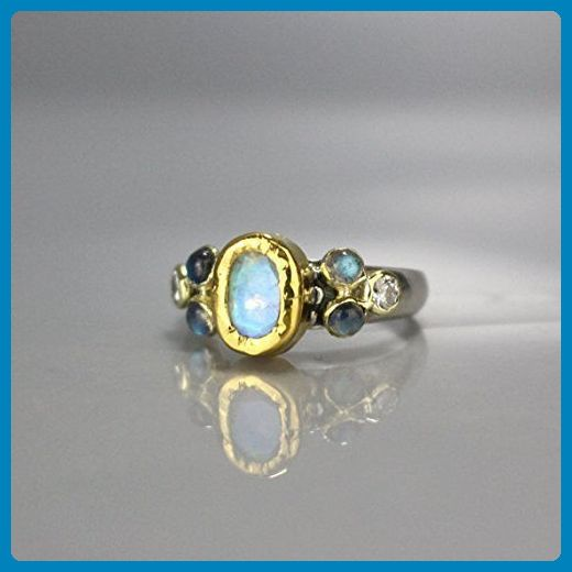 24K Solid Gold and Sterling Silver Rainbow Moonstone Labradorite