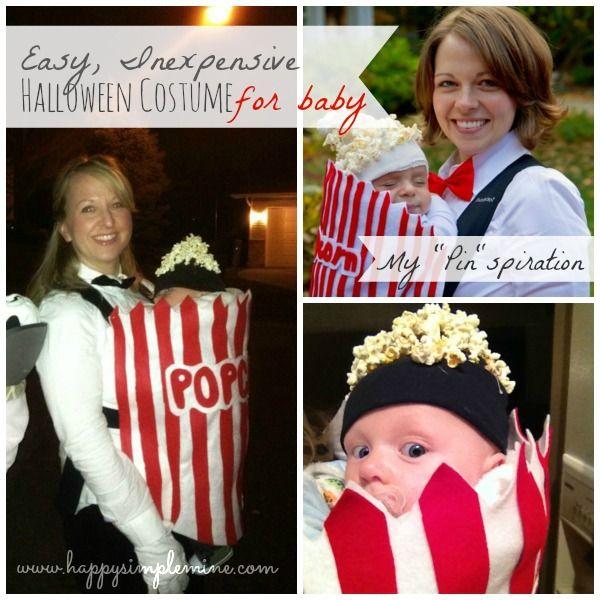 Easy-to-make Halloween costume! Popcorn costume for baby Super cute - super easy halloween costume ideas