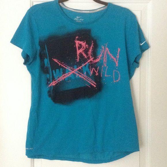"Nike ""Run Wild"" Dri-Fit T-Shirt Blue Nike Dri-Fit runningT-shirt. Nike Tops Tees - Short Sleeve"
