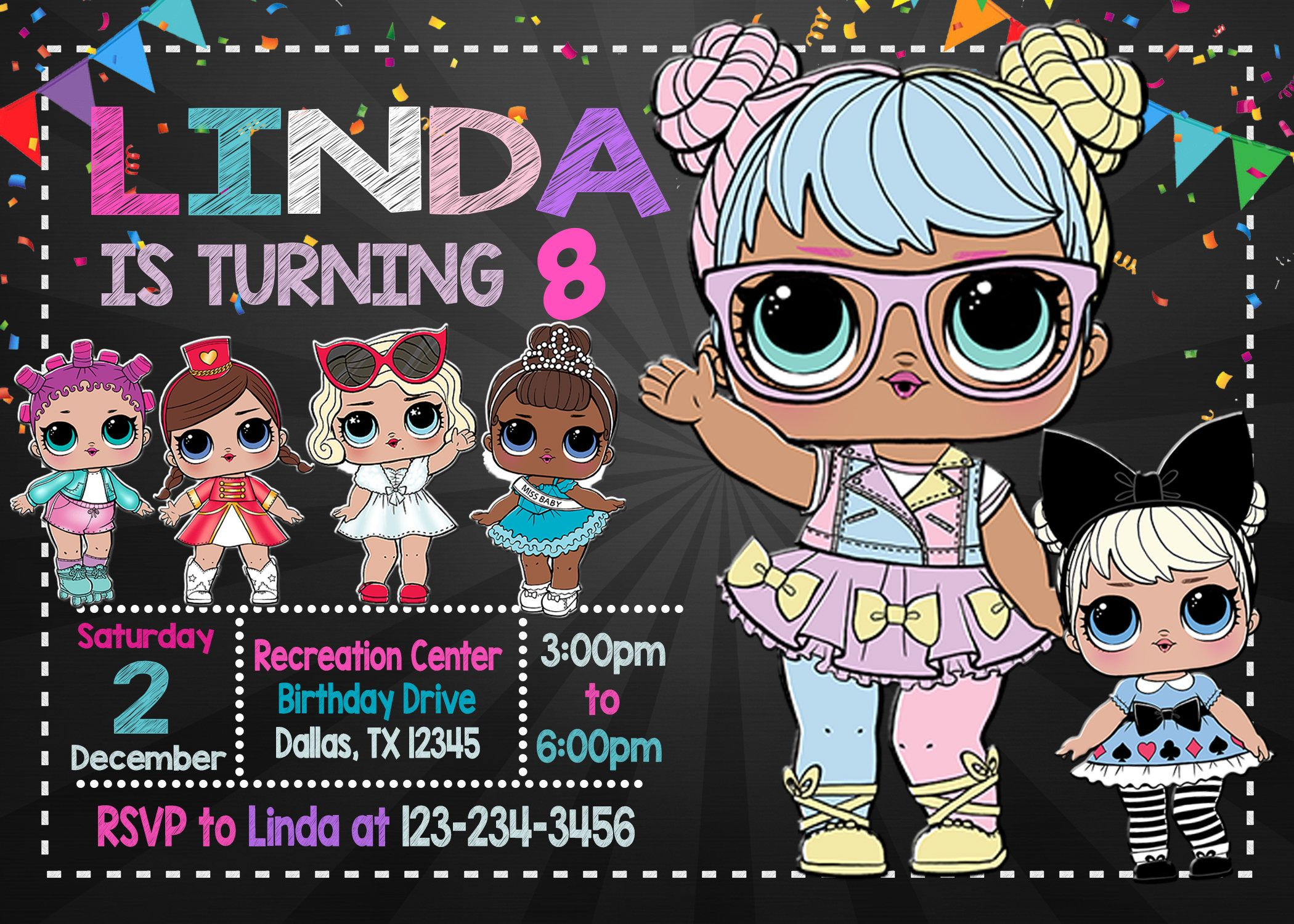 Lol surprise doll party invitation hello and welcome to my - Invitacion para cumpleanos ...