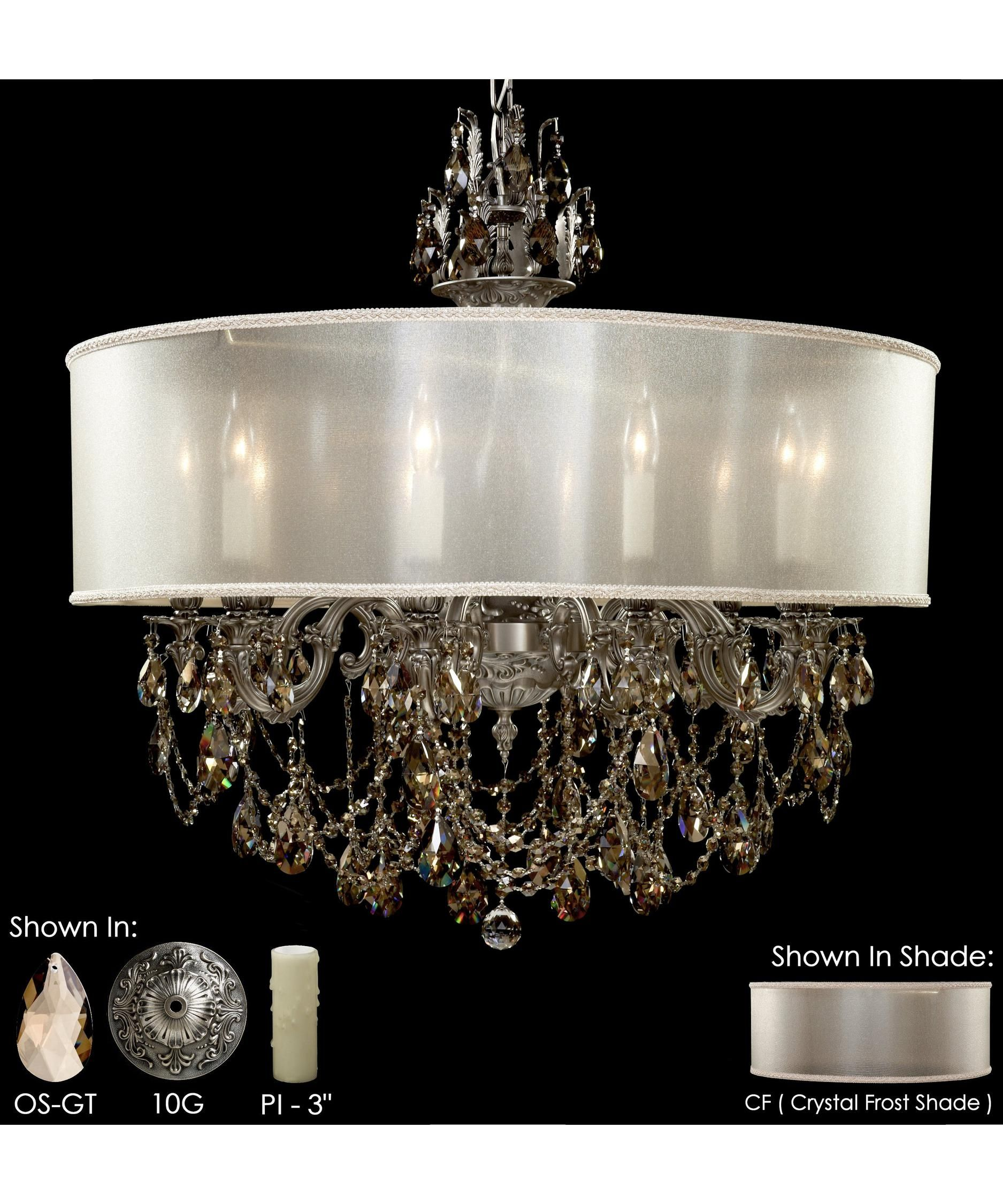 Black gold and crystal wide ceiling light