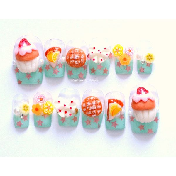 3D nails, Japanese, deco nails, cupcake, melon pan, lemon tart ...