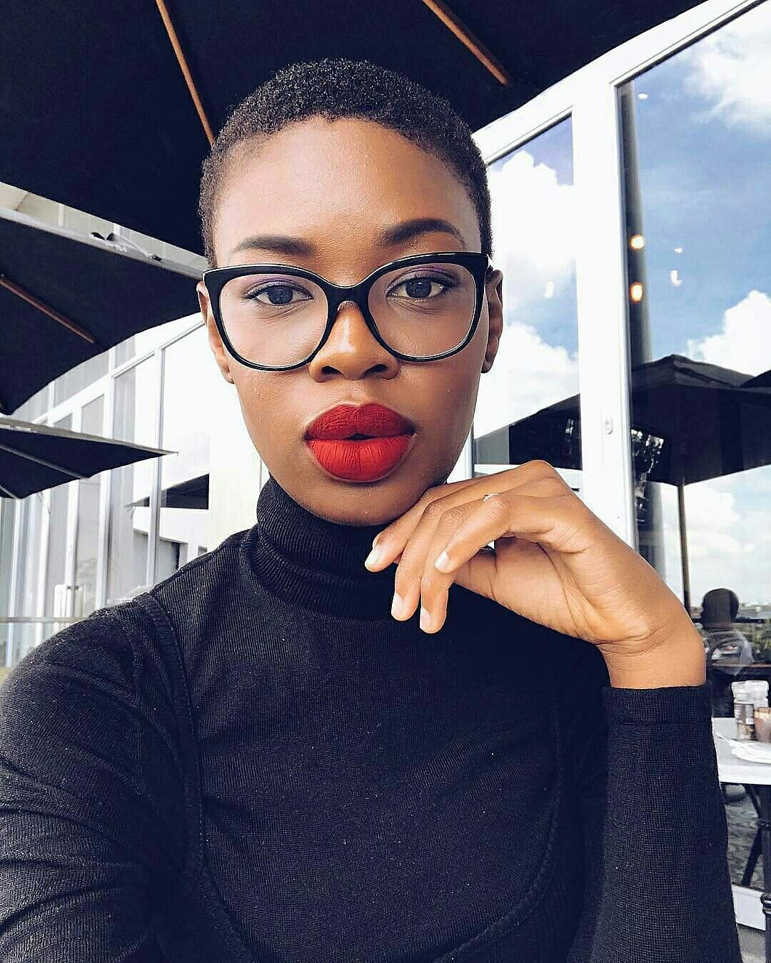 South African Red Lipstick On Dark Skin Clear Brunette
