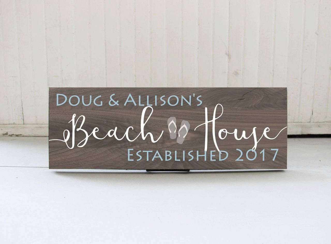 Awesome Beach House Gift Ideas Part - 12: Personalized Family Name Beach House Sign, Beach Sign, Beach House Decor,  Cottage Chic Beach Decor, Beach House Gift Idea