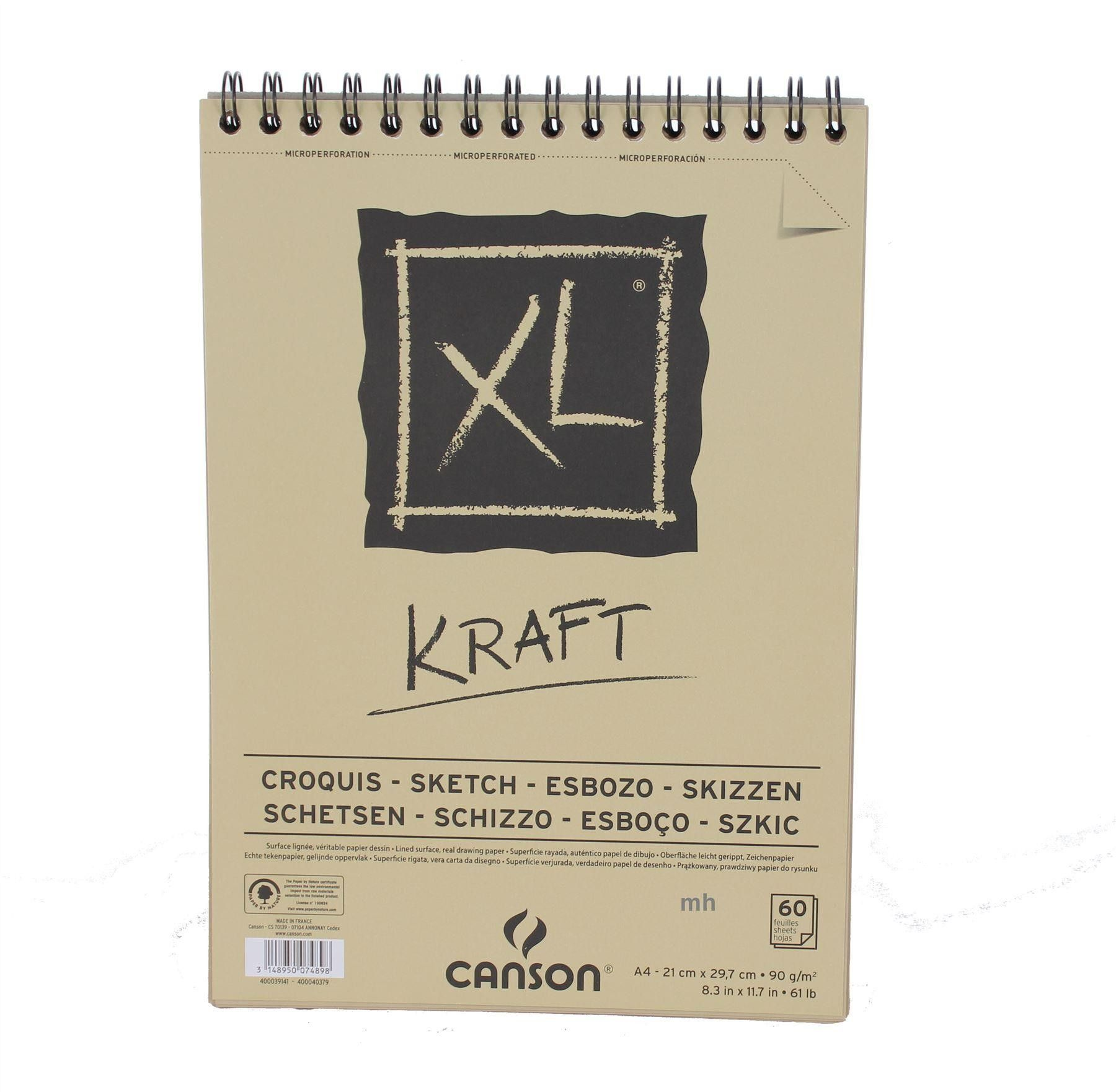 Canson Xl Kraft Pad Brown Paper A3 A4 60 Sheets 90gsm Sketch
