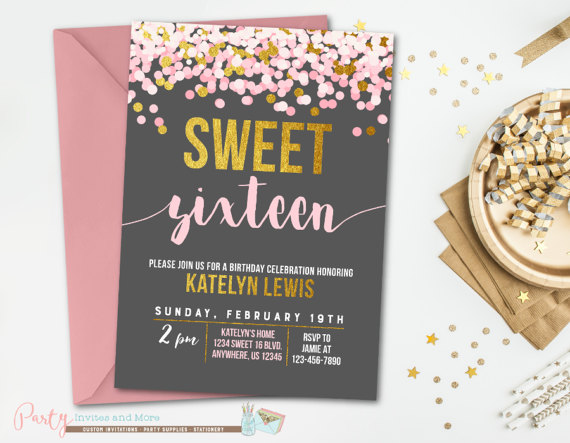 Sweet 16 Birthday Invitation Pink And Gold 16th