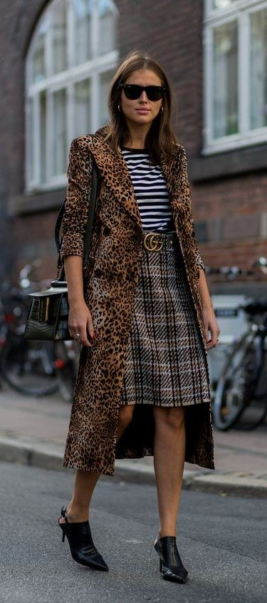 animal print coat. leopard. stripes. checked. mixed prints. street chic.