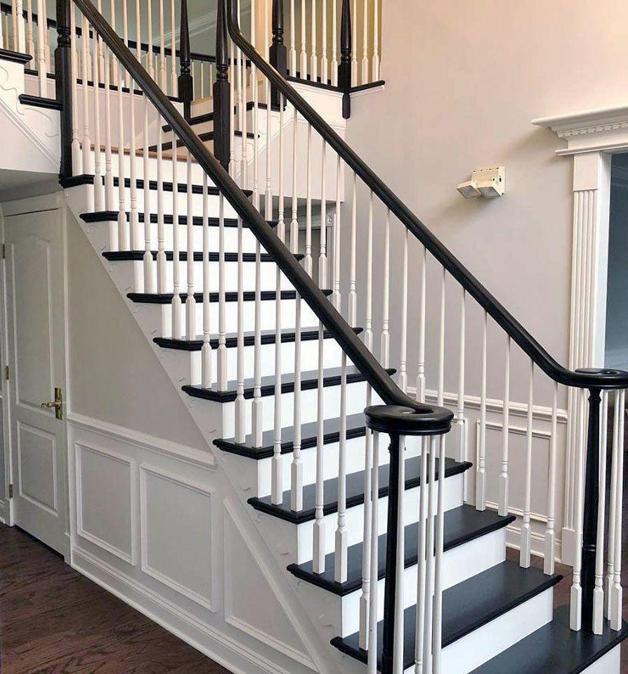 Black Gel Stain Stair Makeover