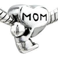 European Beads - heart shape mom with cute baby love silver plated style pandora beads Image.