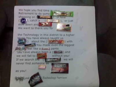 Candy Bar Card Retirement Poster
