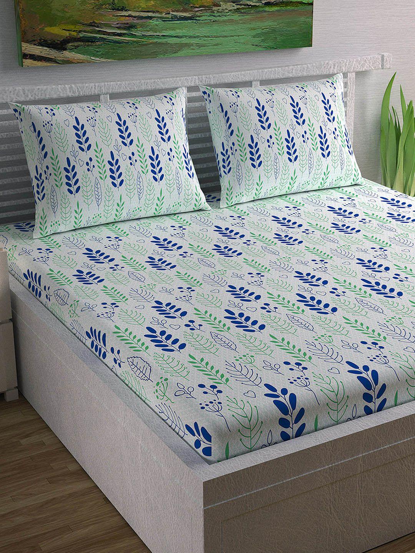 I Love This Divine Casa White Green Floral Flat 104 Tc Cotton 1
