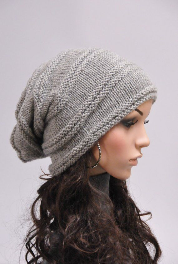 866d9f0c8d3 Hand knit wool hat woman winter hat slouchy grey hat - ready to ship ...