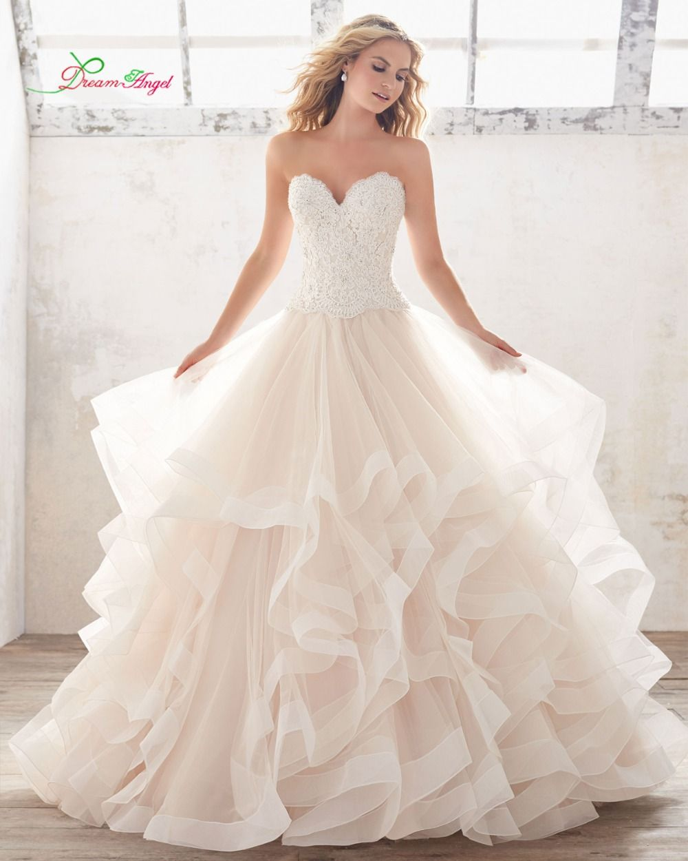 Strapless bra for wedding dress plus size  Dream Angel Vestido De Noiva Sweetheart Ruffles Wedding Dress