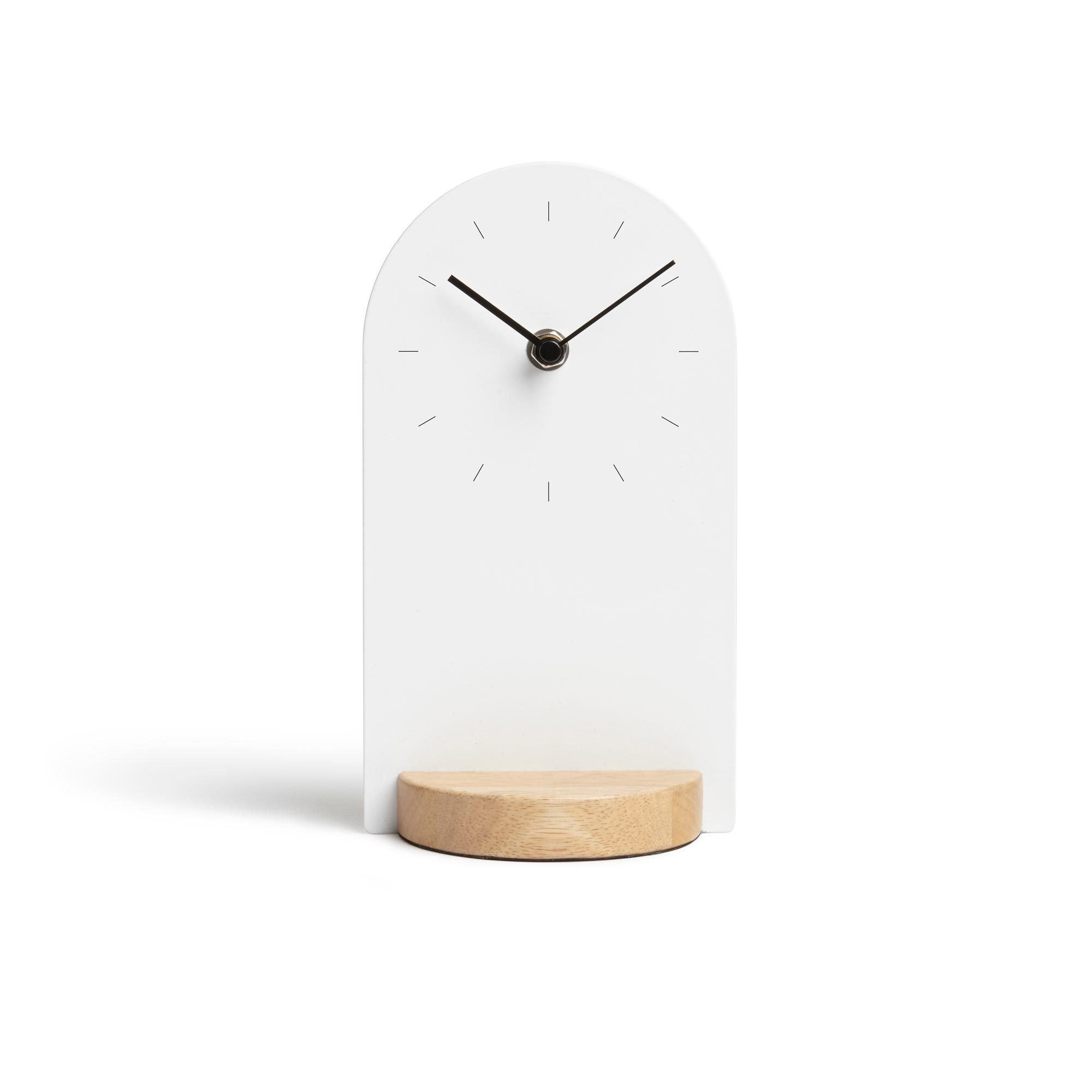 An Architectural Desk Clock In Wood And Metal Finishes Clock Features Mixed Materials Quartz Clock Movement Dimensions 4 1 4 Desk Clock Tabletop Clocks Wood Metal Desk