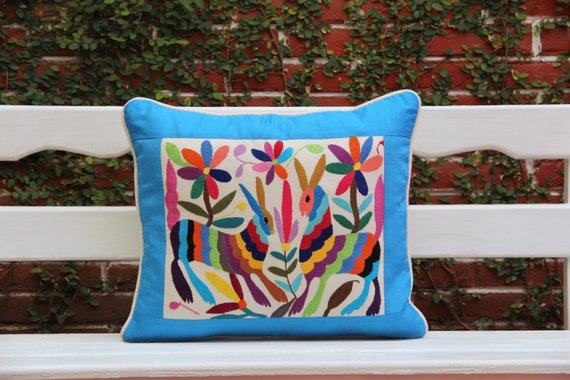 Blue and multi colored Summer Silk and Otomi Pillow Sham with artisan woven textiles